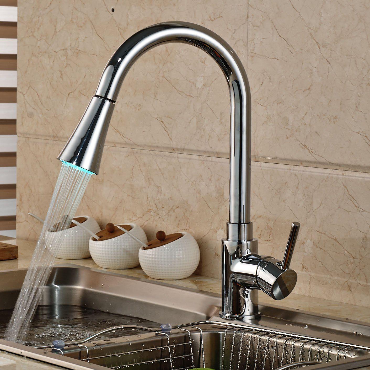 Rozin Chrome Swivel Spout Kitchen Faucet LED Light Pull Out Spray