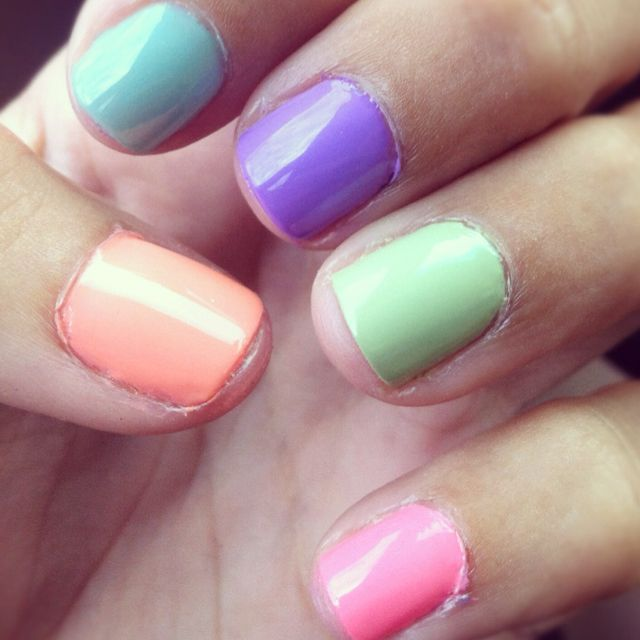Multi-Colored Nails for Spring! | [Nail] Trends | Pinterest | Color ...