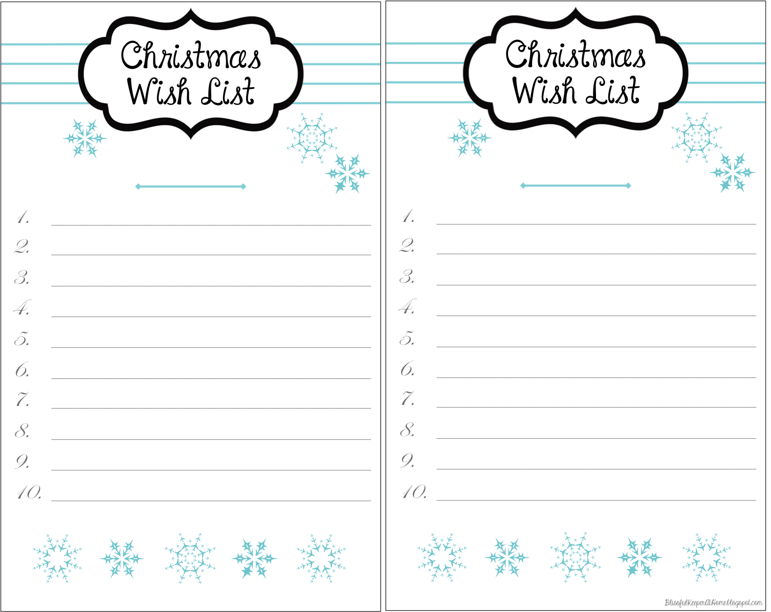 Blissful Keeper at Home: Snowy Christmas Wish List Printables ...