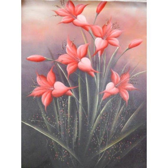 Lukisan Objek Motif Bunga Tulip Dimensi 80x60 Cm Bahan Kain Kanfas Cocok Digunakan Sebagai Hiasan Dinding Atau Yang La Lukisan Dinding Bunga Tulip Bunga