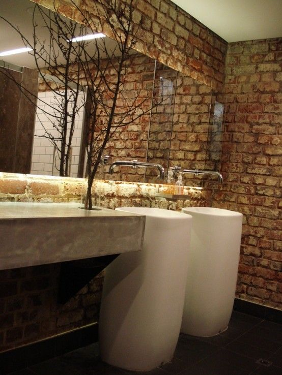 stylish bathrooms with brick walls and ceilings 40 554x738 jpg  554     stylish bathrooms with brick walls and ceilings 40 554x738 jpg  554    738