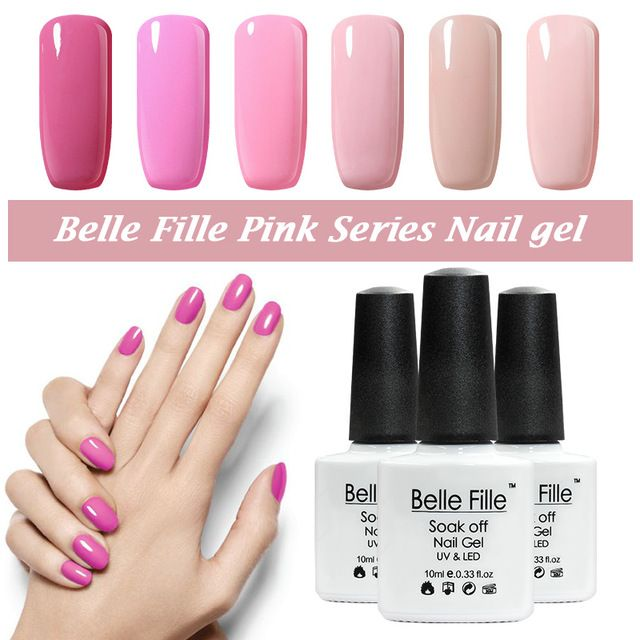 BELLE FILLE Princesa Rosa de Color UV Gel Polaco del Gel de Larga ...