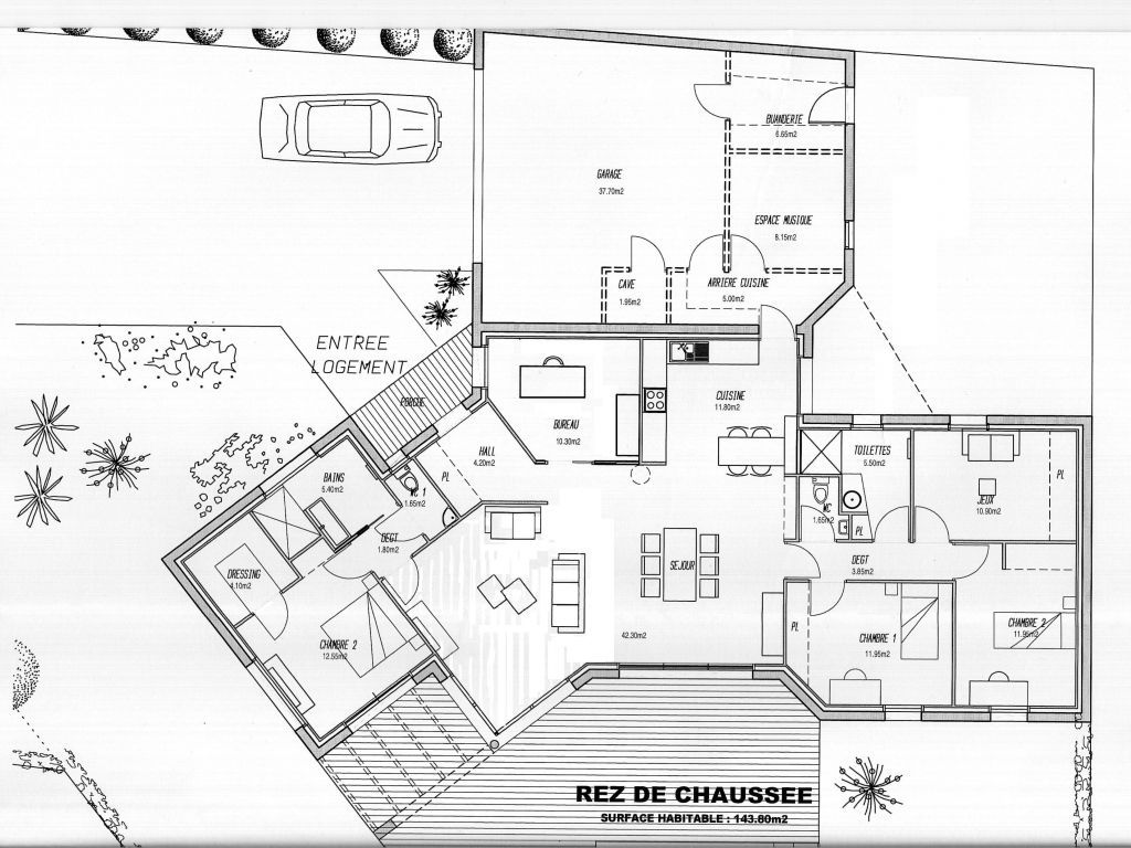 Plan maison forum plan pinterest plain pied for Plan maison 5 chambres