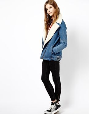 Image 4 of Pull&Bear Denim Jacket With Sheepskin Lining ...