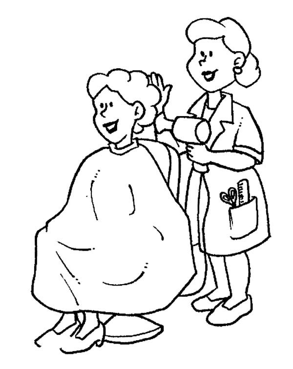 Hair Stylist On Jobs Coloring Pages Coloring Pages Cool