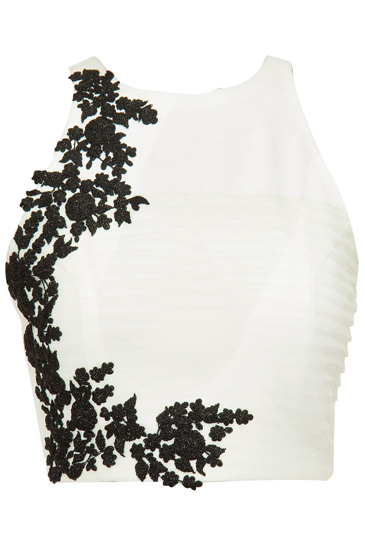 Ivory textured crop top with black floral detailing available only ...