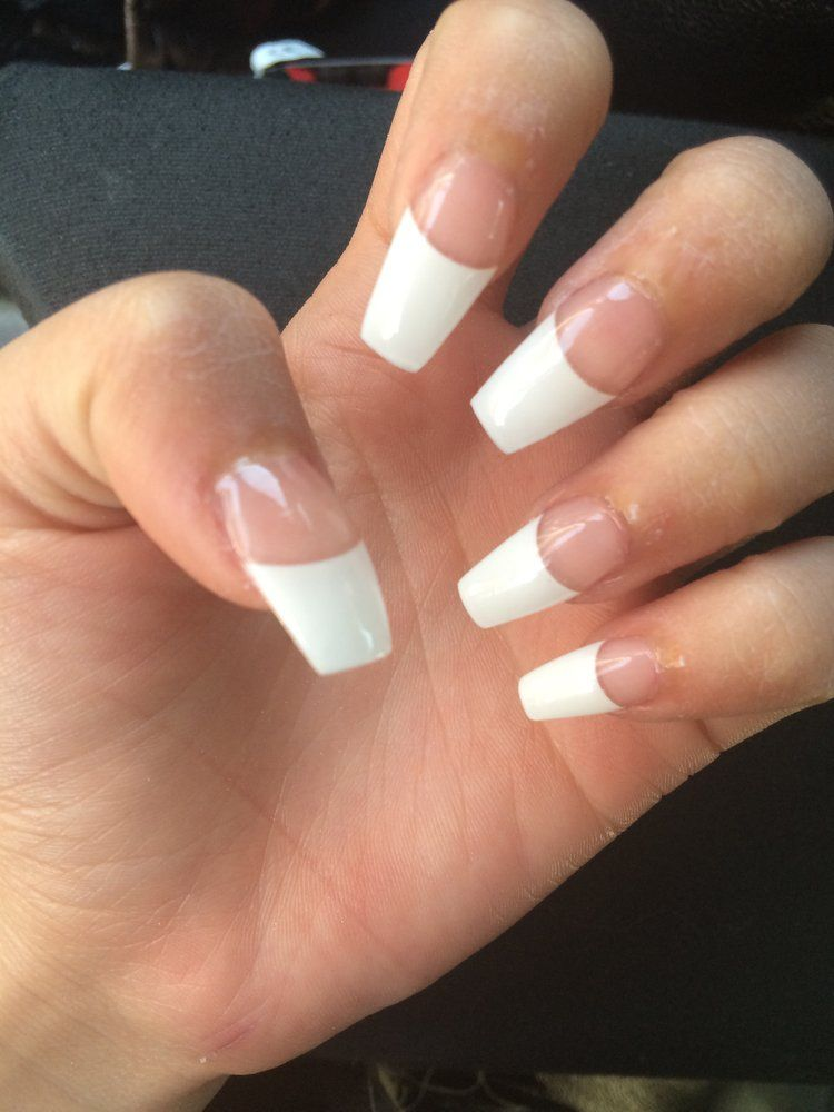 French Tip Coffin Nails Yelp Nails Nails Pointy Nails White