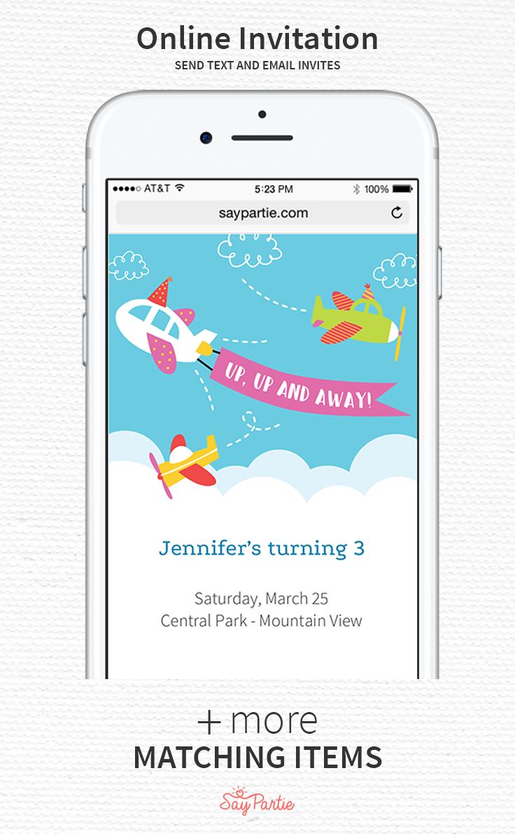 Send Text And Email Invites With Our Up Up And Away Airplane