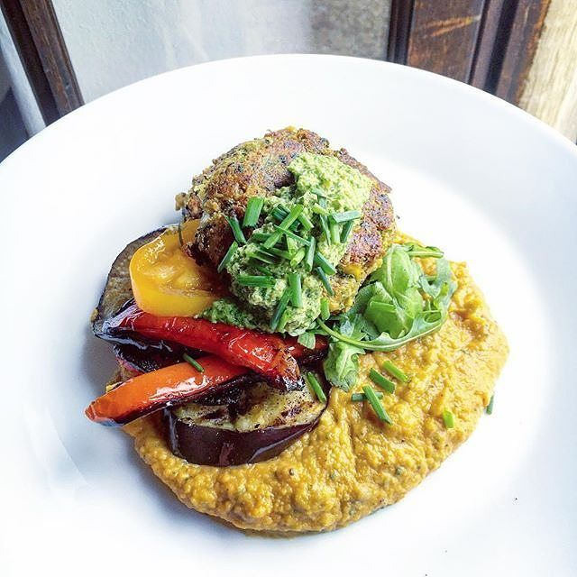 We are all over this super green herby spinach falafel roasted pepper salted aubergine and squash purée with coriander and cashew chutney by @tessward