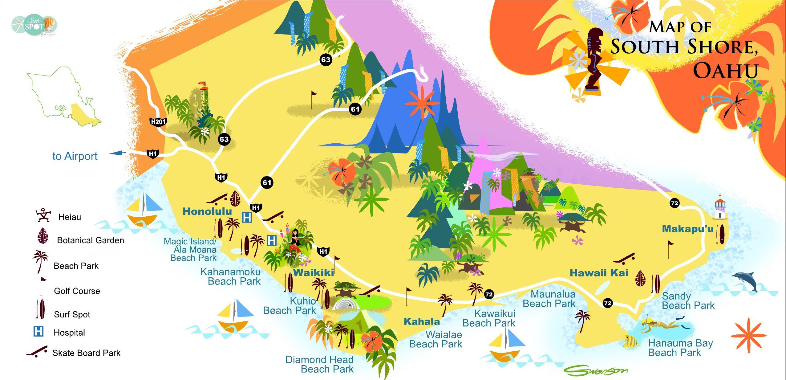 Oahu Maps Map Of South Shore Oahu Oahu In 2019 Oahu