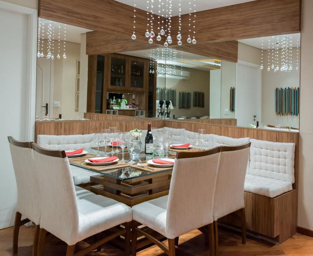 Sala De Jantar Com Lustre E Espelho Projetos Pinterest Sala De  -> Lustres Para Sala De Jantar Barato