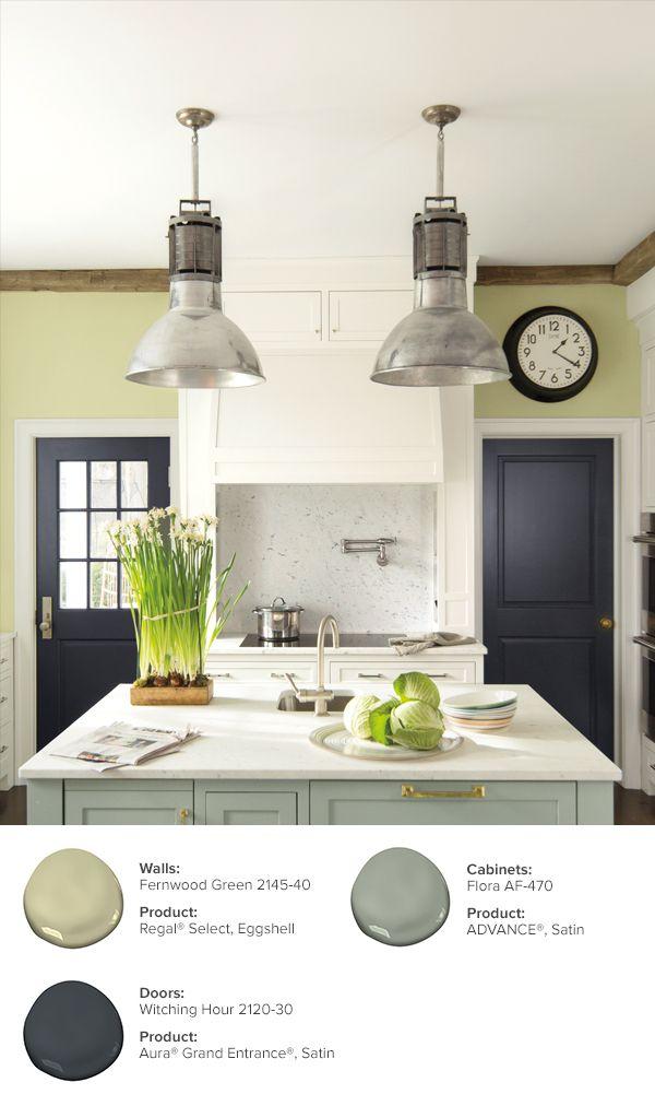 Interior Paint Ideas And Inspiration Benjamin Moore Green Kitchen Walls Light Green Walls Green Kitchen