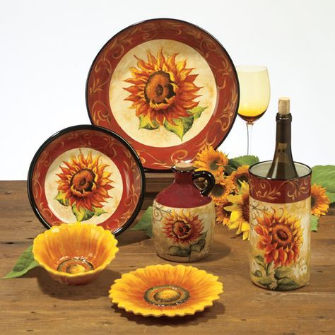 This Will Be My New Kitchen Dinnerware Sunflower Stuff Tuscan Sunflowers Decor Themed
