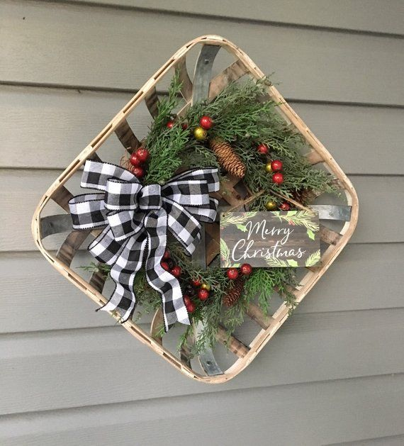 Front Door Baskets: Christmas Tobacco Basket Wreath, Farmhouse Christmas