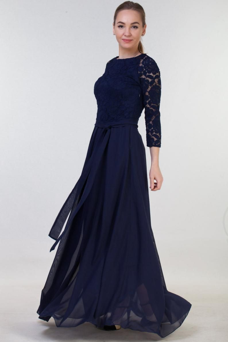 Long navy blue bridesmaid dress with sleeves size us 14
