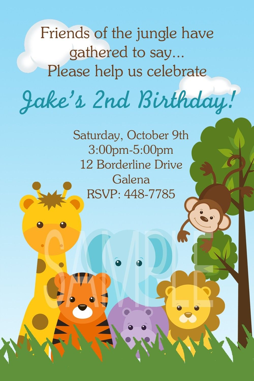 Jungle Animals Monkey Safari Theme Birthday or Baby Shower ...