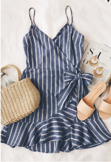 Voyage Blue And White Striped Wrap Dress In 2019 Looks I