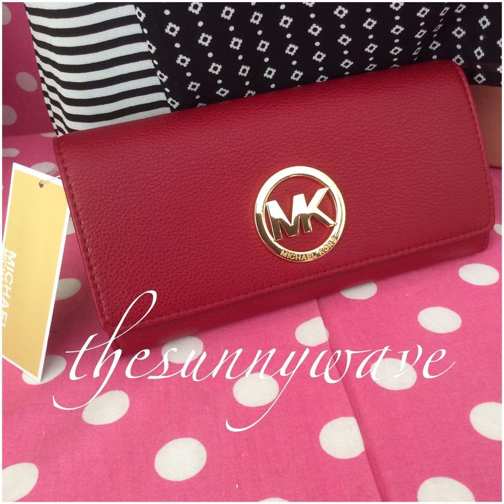 Michael Kors Fulton Cherry Pebbled Leather Carryall Wallet