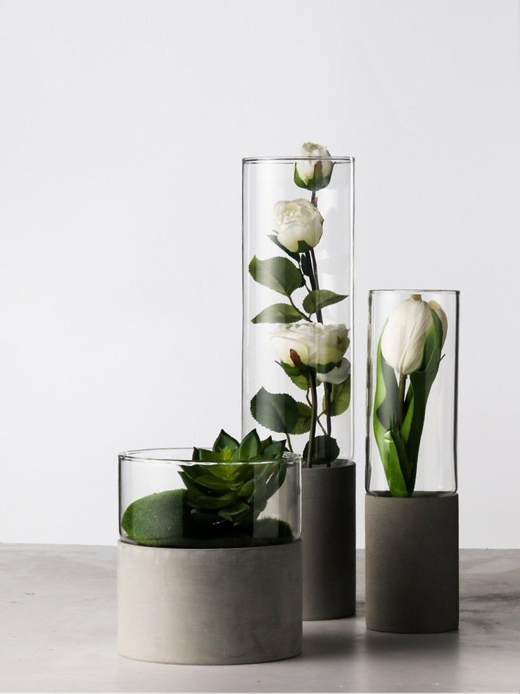 Excited To Share The Latest Addition To My Etsy Shop Nordic Minimalist Concrete Cement Succulent Glass Pot Mini In 2020 Glass Vase Modern Glass Vases Concrete Vases