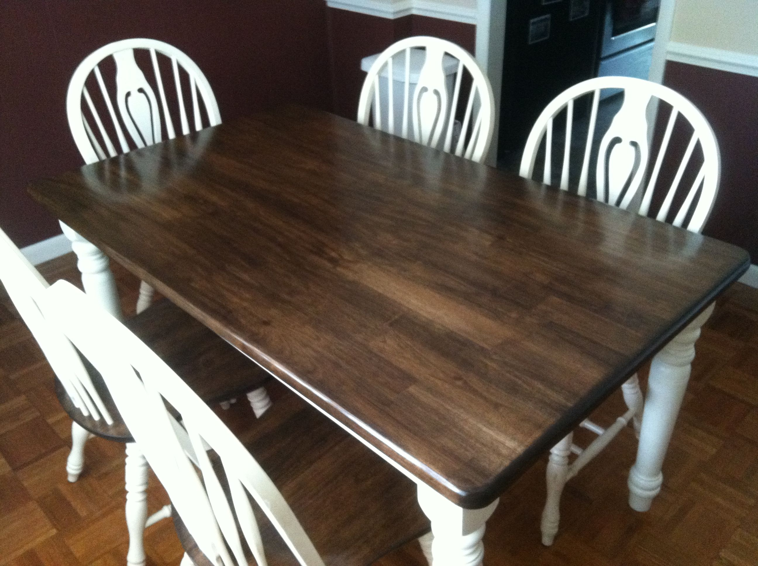 $5 kitchen table and chairs, sanded, stained and poly-ed
