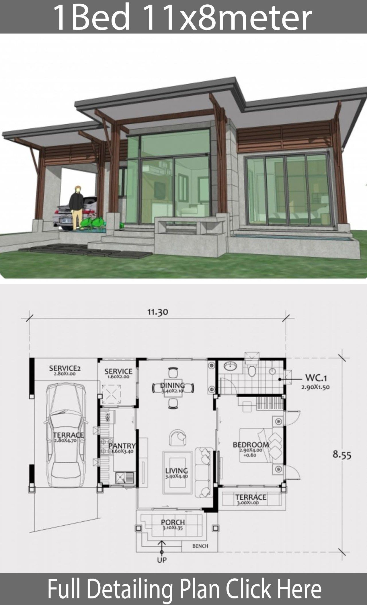 Home Design Plan 11x8m With One Bedroom Home Ideas Backyard Cottage Home Design Plan Cottage Plan
