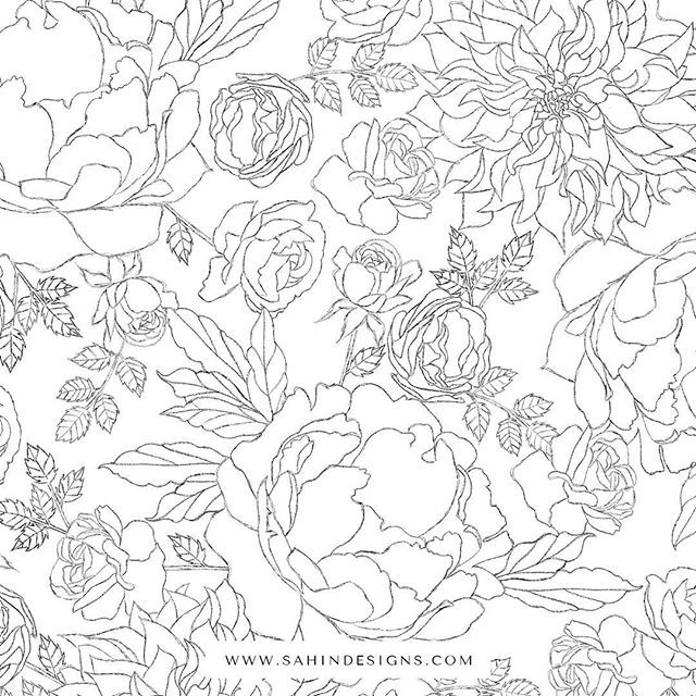 This is the finished pattern I made from the sketches I showed you earlier. This is my favorite pattern so far I made this year! #sahindesigns⠀