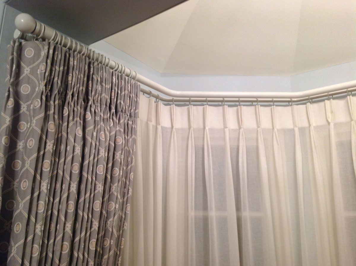 Curtain For Double Window Hallwright Double Bay Pole 4 Bends No Corner Brackets Best Bay