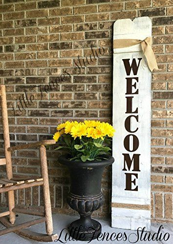 Large Vertical Wood Welcome Sign Country Decor Farmhouse Decor Yard Sign Welcome Signs Front Door Porch Decorating Porch Welcome Sign