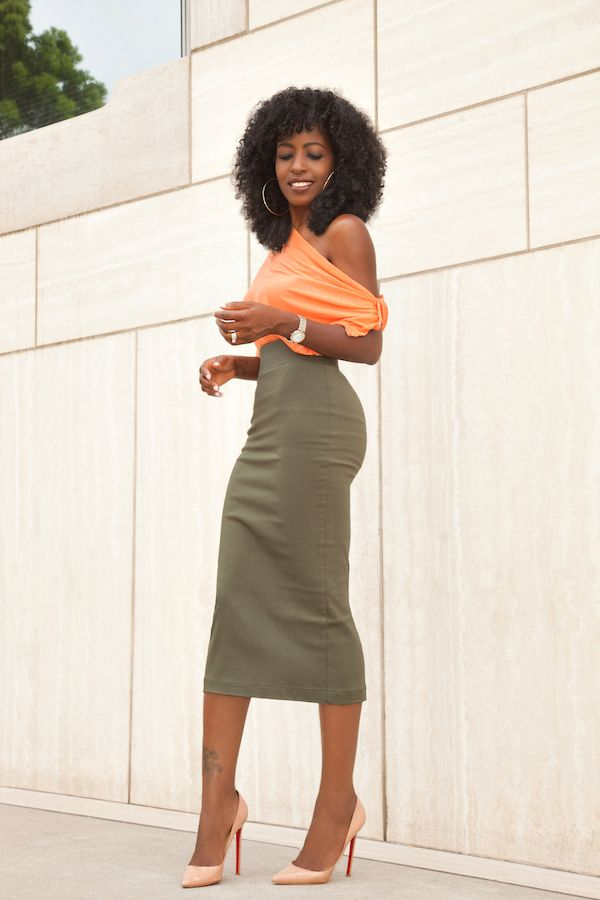 29756dc393b6b Off Shoulder Blouse x Military Pencil Skirt