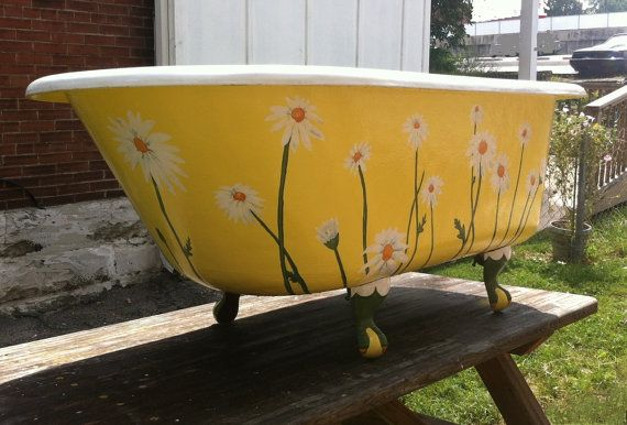 Antique Clawfoot Tub Yellow Daisy Vintage Claw Foot Bathub Country