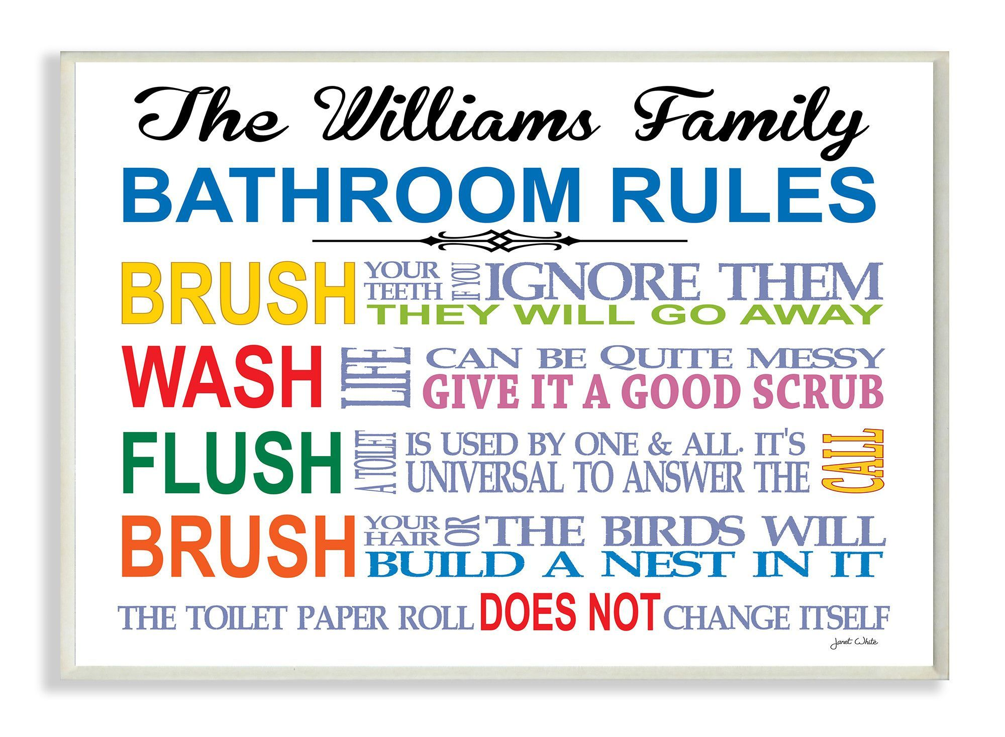 Personalized Bathroom Rules Rainbow By Janet White Textual Art Plaque In 2020 Bathroom Rules Bathroom Rainbow