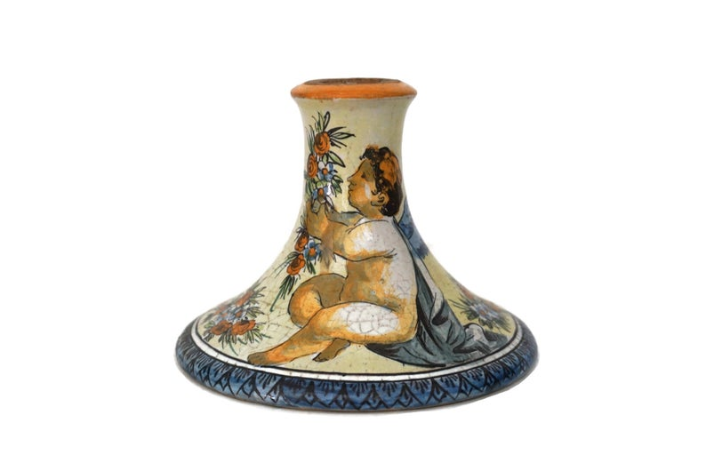 Italian Majolica Candle Holder With Cherub Butterfly And Flowers Hand Painted Pottery Candlestick Stand In 2020 Italian Majolica Hand Painted Pottery Majolica