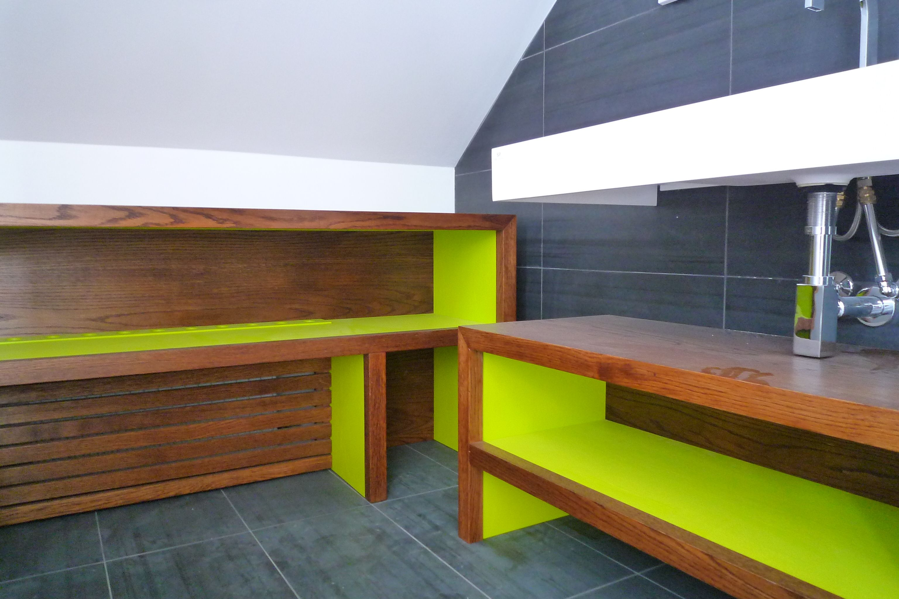 Oak and lime green bathroom cabinets fitted pinterest lime