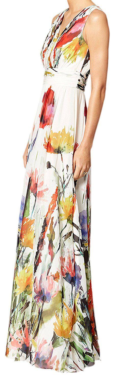 erdbeerloft - Damen Maxi Kleid Sommer Blumen Lang, 36