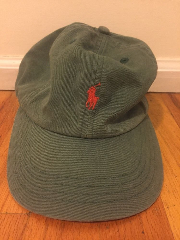 79a391c00e2 Polo by Ralph Lauren Baseball Cap Green Olive Leather Strap