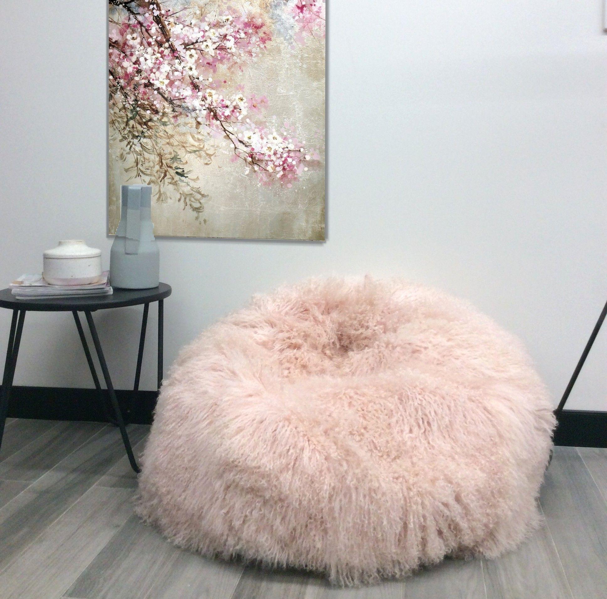 Pink Mongolian Sheepskin Bean Bags ELuxury Home Eluxury