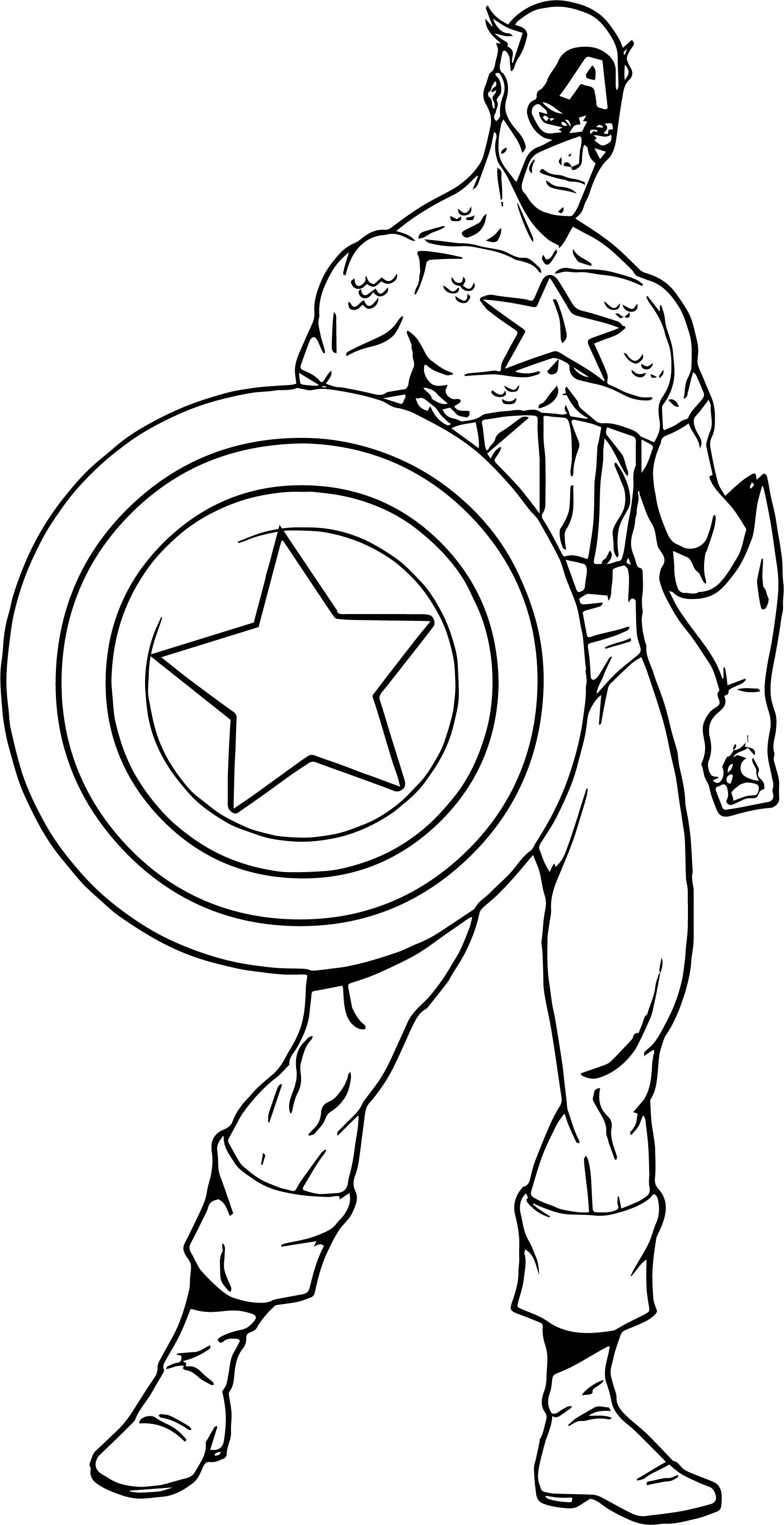 Nice Captain America Captain Ready Coloring Page Capitao America