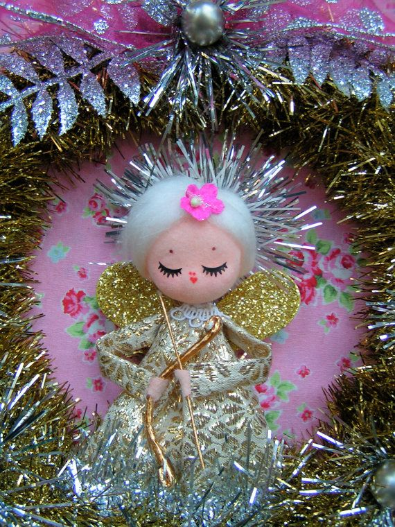 Vintage Angel Gold Christmas Wreath....Handmade by KittyKatDance, $27.00