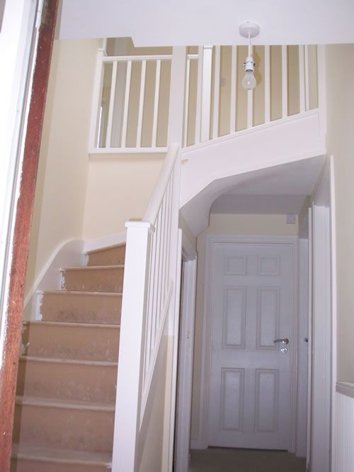 loft conversion stairs idea to change layout of upper staircase treppen attic loft und. Black Bedroom Furniture Sets. Home Design Ideas