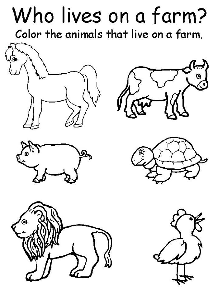 Printable Exercises For Kids Farm Animals Preschool, Animal Worksheets,  Preschool