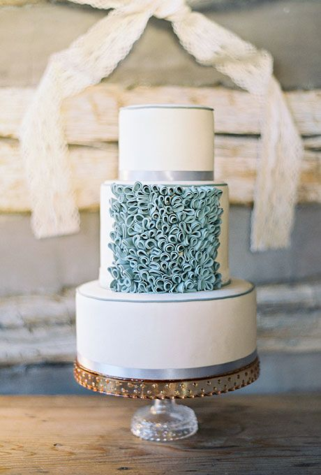 Wedding cake modern  Brides: Modern Ruffled Wedding Cake. This wedding cake comes to us ...