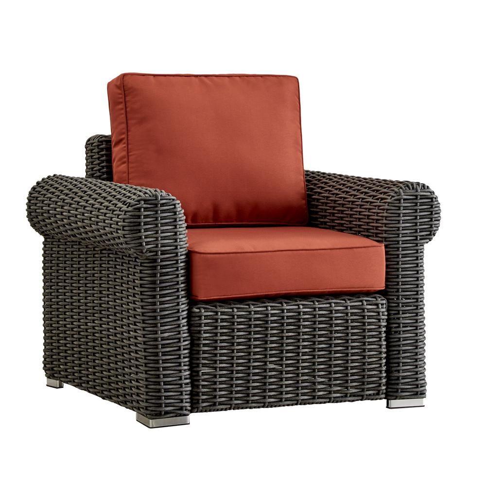 Remarkable Homesullivan Camari Charcoal Rolled Arm Wicker Outdoor Patio Machost Co Dining Chair Design Ideas Machostcouk
