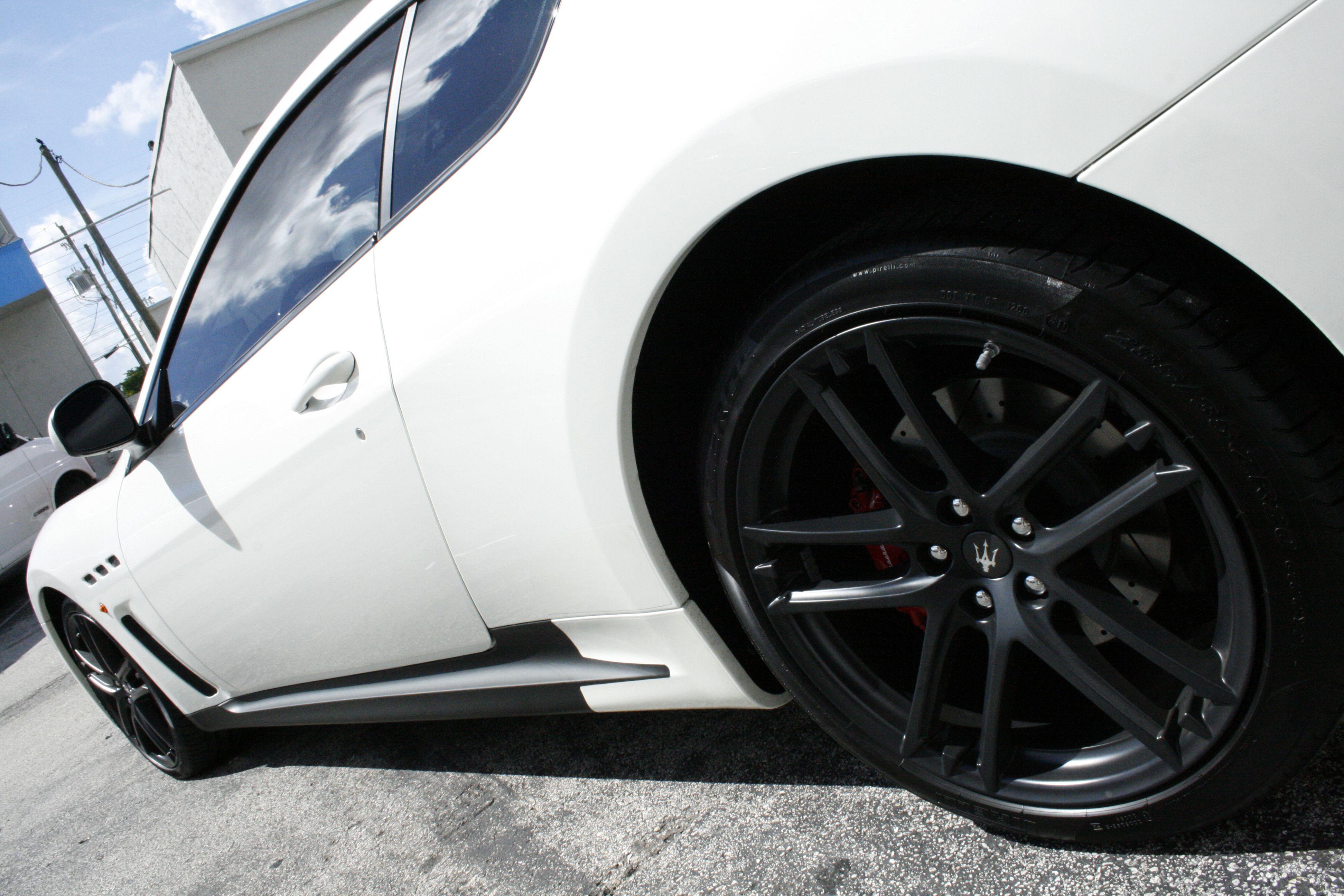 Maserati granturismo flat matte vinyl wrapped side skirts http carwrapsolutions com