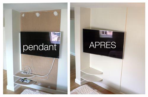rangement cable tv meuble tv cache fil cacher cable tv mur avec the - comment fixer un meuble au mur