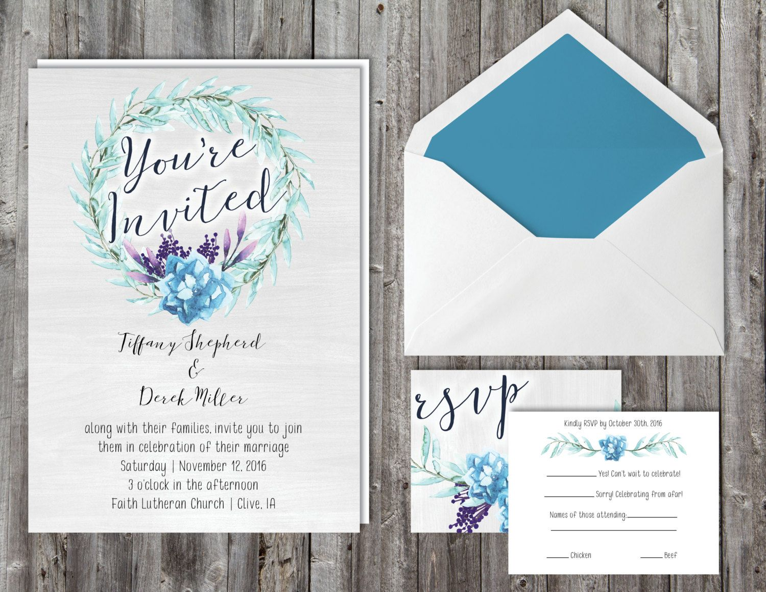 Blue and teal succulent wedding invitation suite with RSVP card ...