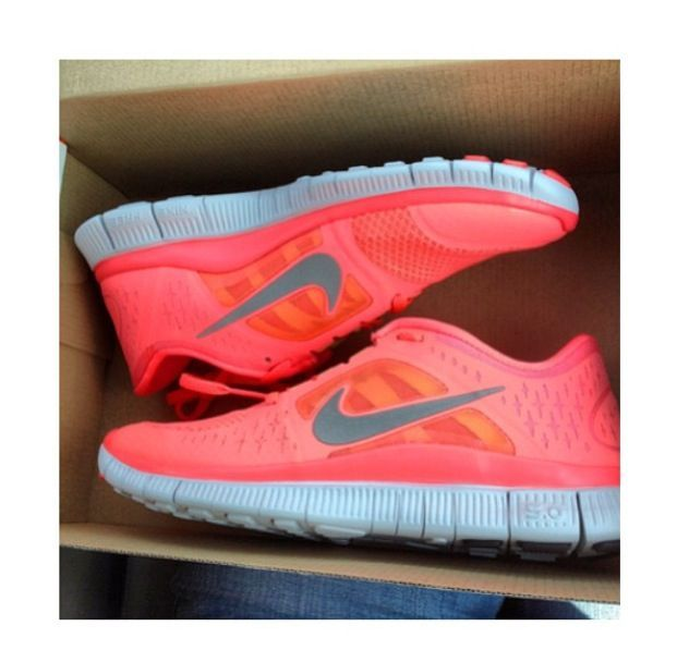 fd4930f777 shoes nike nike shoes trainers neon coral orange pattern cute running  running shoes pink traners sportswear nike free run hot punch nikes run  nike running ...