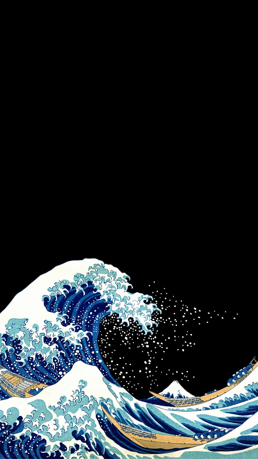AMOLED Great Wave off Kanagawa #wallpaperiphone