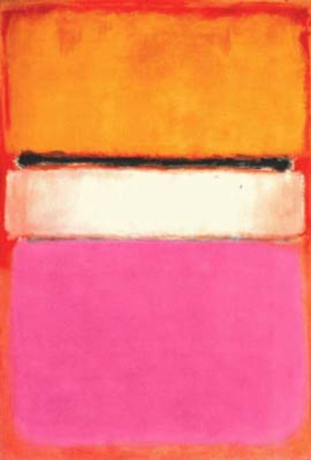White Center (Yellow, Pink and Lavender on Rose) (1950).