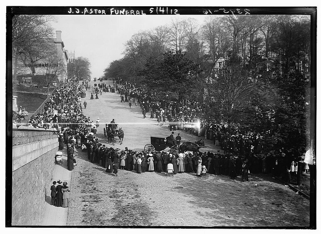 Photo shows funeral procession of John Jacob Astor IV (1864-1912), who died with the sinking of the Titanic.  Forms part of: George Grantham Bain Collection (Library of Congress).