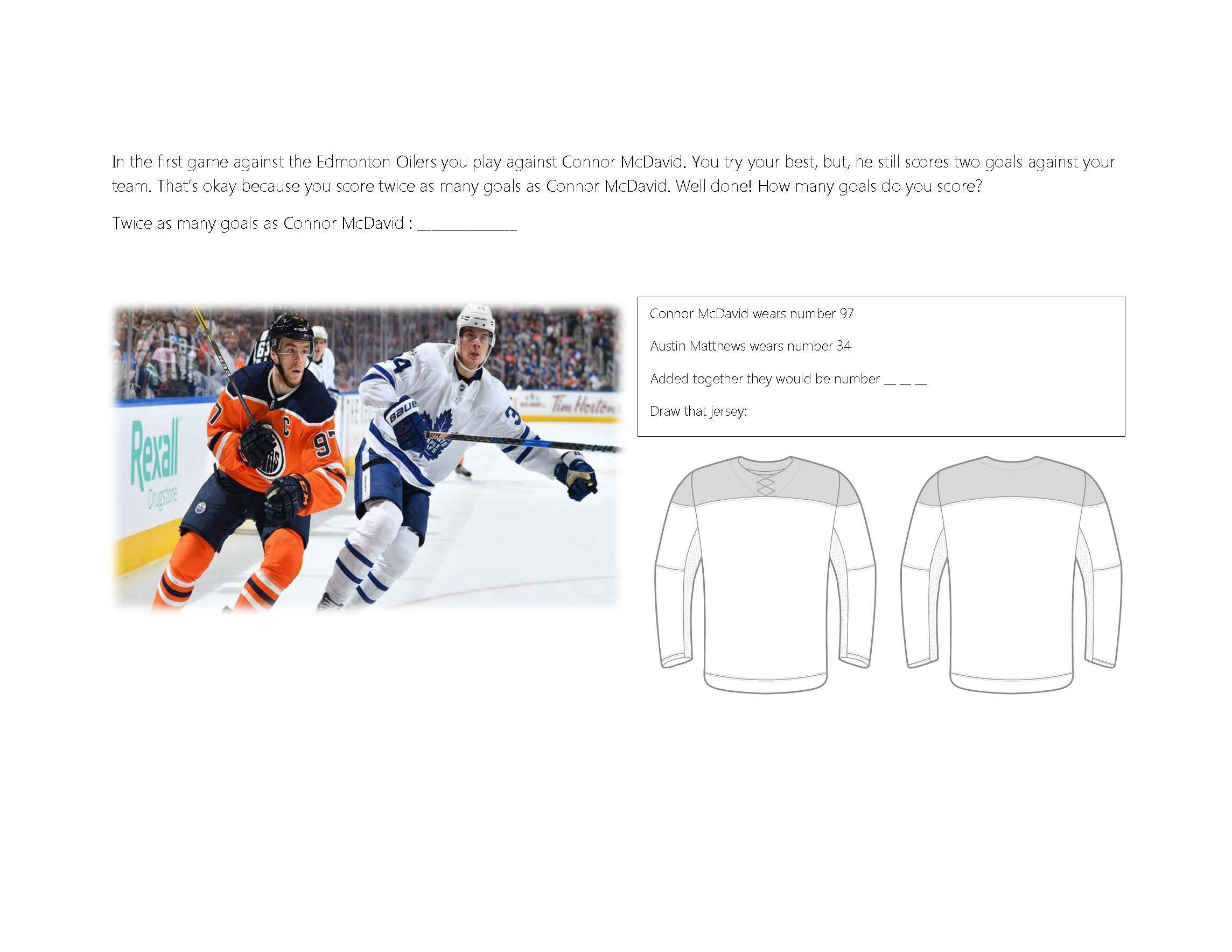 Hockey Themed Worksheet For Math And Geography With